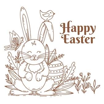 Salutation de pâques avec lapin et letering, illustration dessinée à la main