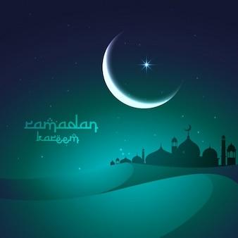 Salutation ramadan avec des dunes de sable et la mosquée