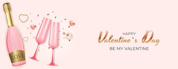Salutation de la saint-valentin avec bouteille et verres