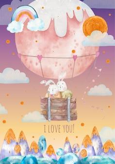 Salutation de la saint-valentin, mignons lapins aimants volent dans un ballon à air chaud rond au-dessus des montagnes, illustration pour enfants