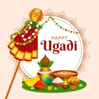 Salutation traditionnelle heureuse ugadi gudhi pour le festival du nouvel an indien gudi padwa
