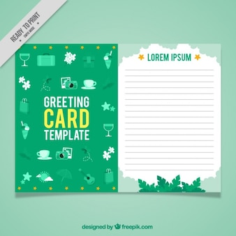Salutation vert modèle de carte