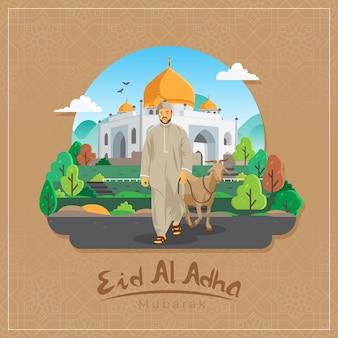 Salutations de l'aïd al adha moubarak avec un homme portant une chèvre