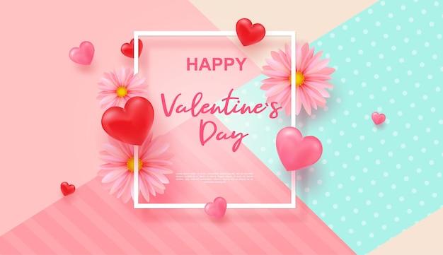 Salutations de bonne saint-valentin. avec des coeurs et des marguerites roses.
