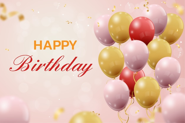 Salutations élégantes d'anniversaire avec des ballons et des confettis qui tombent
