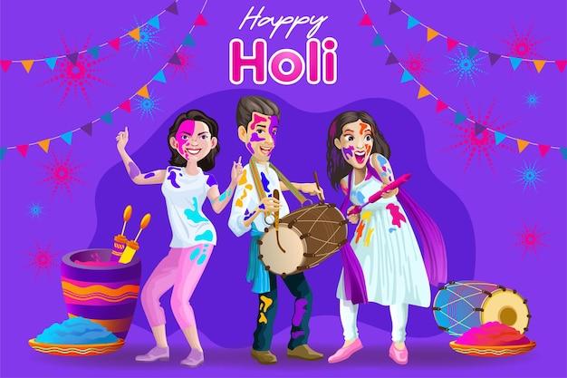 Salutations holi avec des danseurs indiens heureux