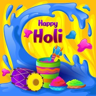 Salutations holi avec éclaboussures de couleurs