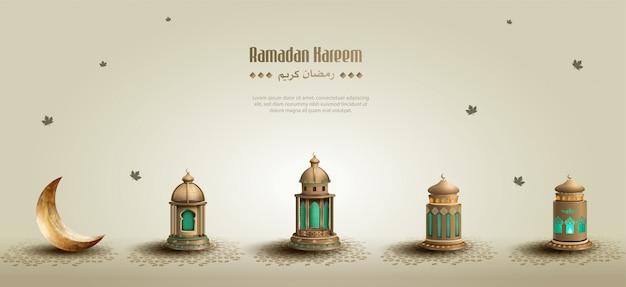 Salutations islamiques ramadan kareem fond avec de belles lanternes et croissant de lune