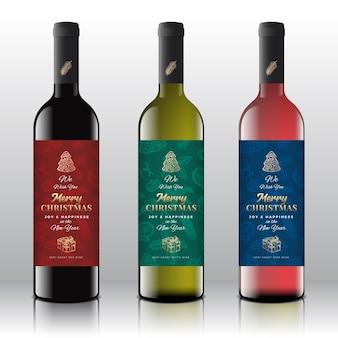 Salutations de noël concept d'étiquettes de bouteille de vin.