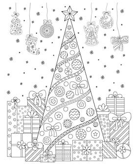 Salutations de noël et du nouvel an. ensemble de motifs décoratifs faits de symboles de vacances. arbre de noël, cadeaux, sac, flocons de neige et étoiles. page de livre de coloriage.