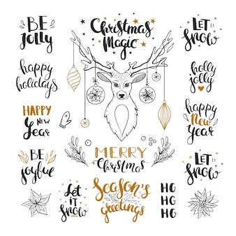 Salutations de noël de vecteur isolés sur blanc ensemble de phrases dessinées à la main pour noël et nouvel an