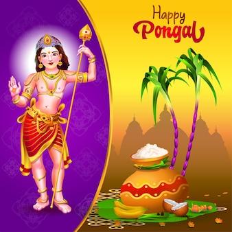 Salutations de pongal avec la canne à sucre de pot de dieu et les choses traditionnelles