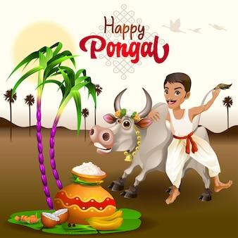 Salutations pongal avec un fermier tamoul et un taureau