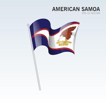 Samoa américaines, agitant le drapeau isolé sur gris