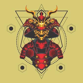 Samouraï armure géométrie sacrée