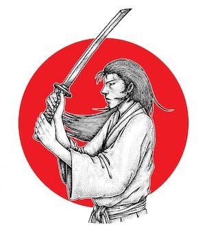 Samouraï aux cheveux longs en position d'attaque avec katana