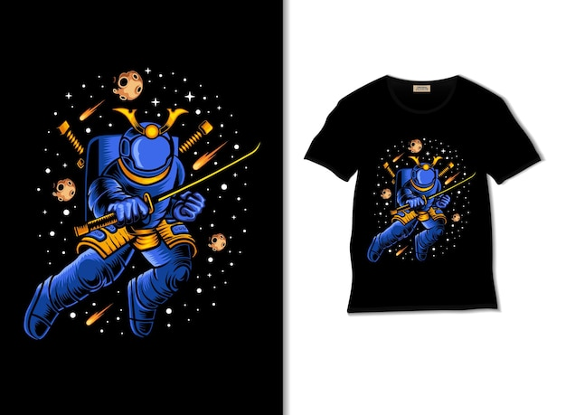 Samouraï de l'espace prêt à la guerreillustration avec un design de t-shirt