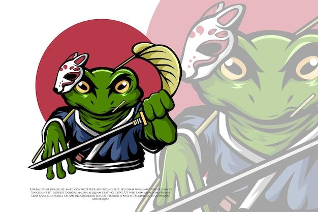 Samouraï grenouille dans l'illustration de style japonais