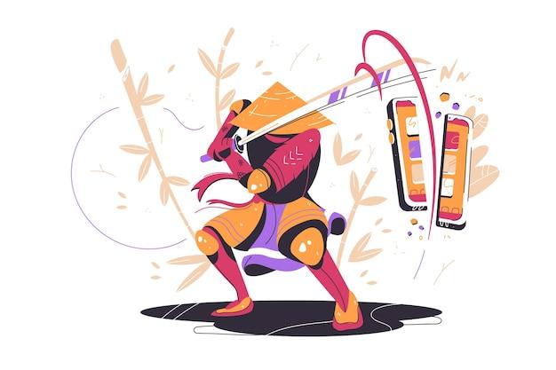 Samouraï japonais au combat avec épée illustration vectorielle guerrier asiatique avec smartphone coupé katana