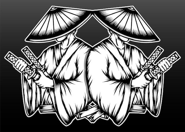 Samouraï japonais monochrome isolé sur fond noir
