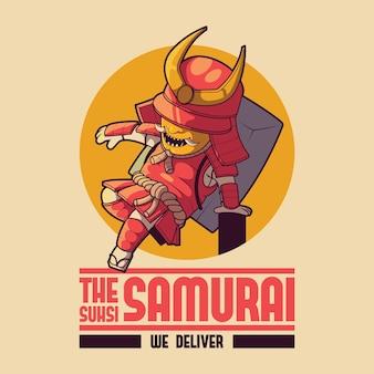 Samouraï livrant le logo de sushi. livraison, affaires, nourriture, conception de tradition
