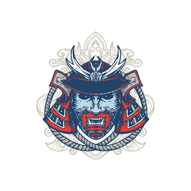 Samouraï masque design illustration ornement fond