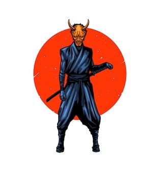 Samouraï avec masque oni