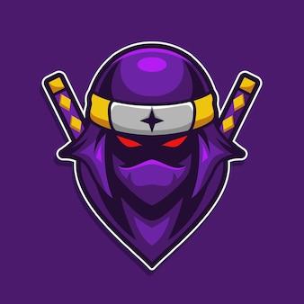 Samouraï ninja en colère avec jeu de mascotte yeux rouges