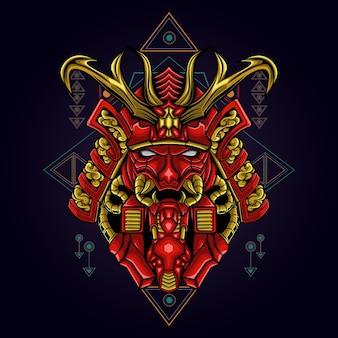 Samouraï rouge mecha géométrie sacrée