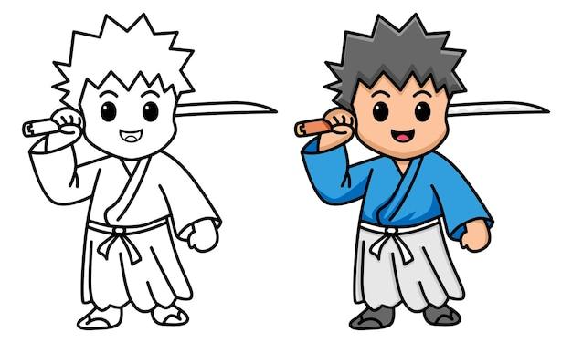 Samouraï tenant une épée coloriage pour les enfants