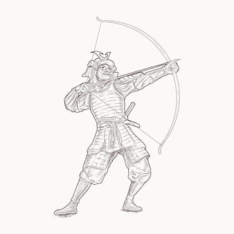 Samurai archer dessin à la main