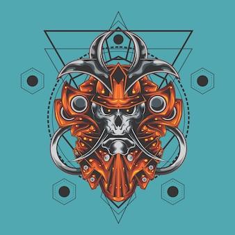 Samurai crâne géométrie sacrée
