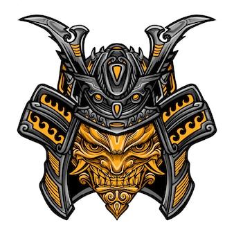 Samurai evil mask vector