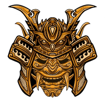 Samurai gold warrior mask vector