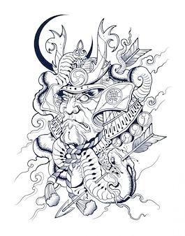 Samurai japonais effrayant tue un serpent