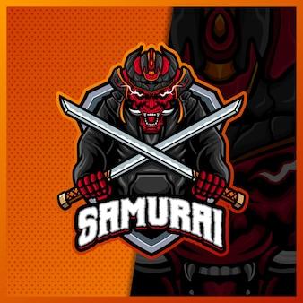 Samurai oni avec le modèle vectoriel d'illustrations de conception de logo esport de mascotte de katana, logo devil ninja pour la discorde de contraction de bannière de youtuber de streamer de jeu d'équipe, style de dessin animé en couleur