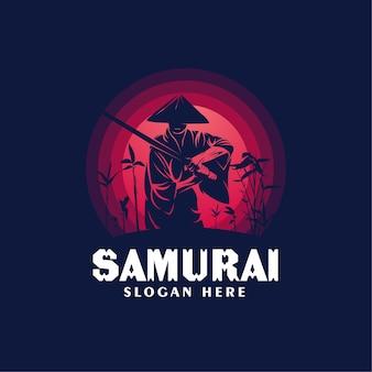 Samurai portant un modèle de conception de logo de chapeaux