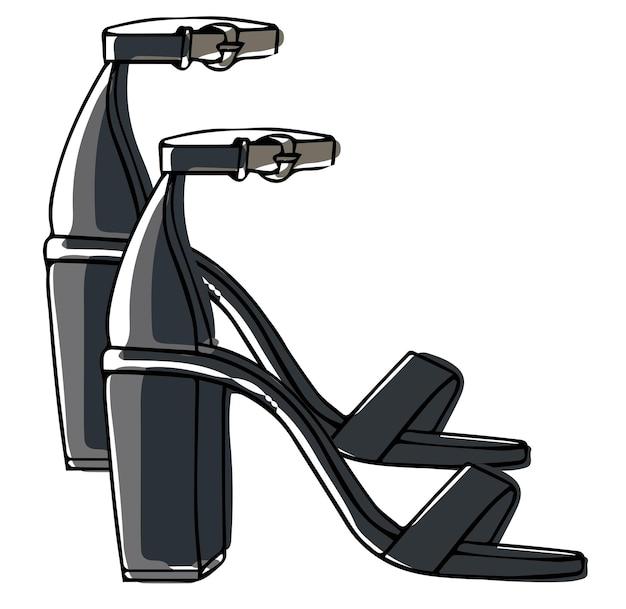 Sandales en cuir sur talon avec chaussures à lanières