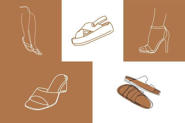 Sandales jambe oneline art premium vecteur
