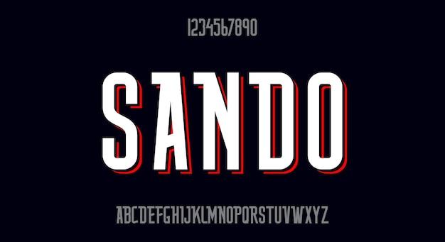 Sando, une police haute et élégante décorative. conception de vecteur de police moderne