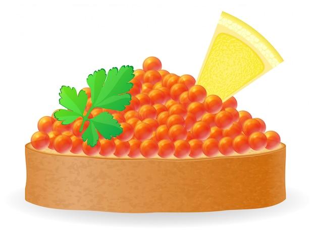 Sandwich au caviar rouge citron et illustration vectorielle persil