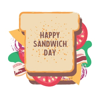 Sandwich. bonne journée sandwich. illustration drôle de vecteur dans un style cartoon plat. isolé sur fond blanc.