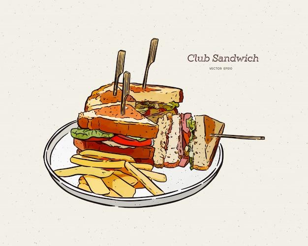 Sandwich club, croquis de tirage à la main.