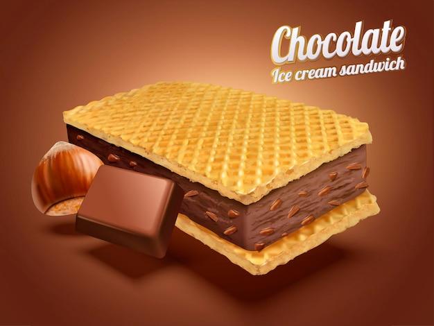 Sandwich à la crème glacée au chocolat et aux noisettes avec des biscuits et des ingrédients de gaufrette