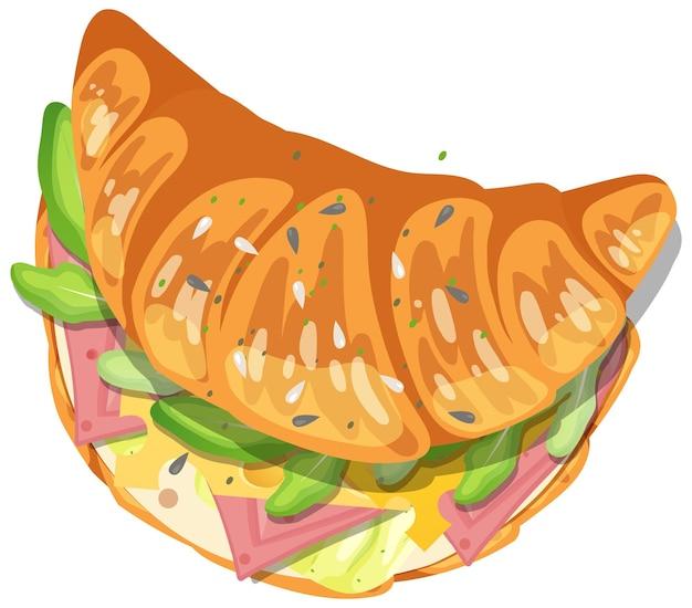 Sandwich croissant au jambon et légumes à l'intérieur isolé