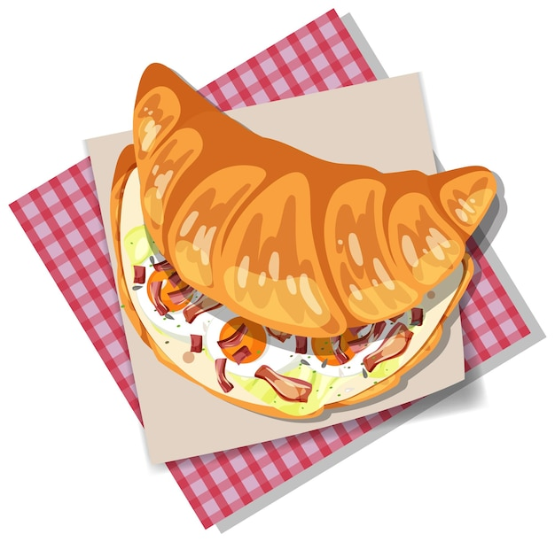 Sandwich croissant au petit déjeuner avec bacon et oeuf isolé