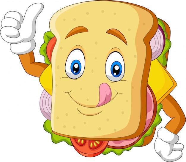 Sandwich de dessin animé donnant les pouces vers le haut