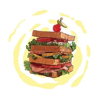 Sandwich dessiné à la main avec garniture de viande et de légumes