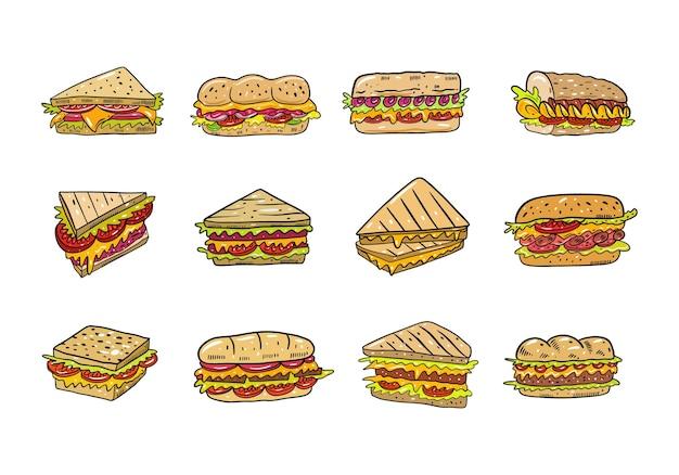 Sandwich dessiné à la main