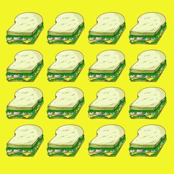 Sandwich fast-food design pattern seamless background texture